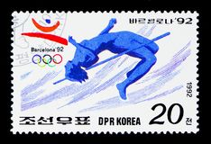 High jump, Summer Olympics Barcelona (II) serie, circa 1992. MOSCOW, RUSSIA - MARCH 18, 2018: A stamp printed in Democratic People's Republic of Korea shows High Stock Photography