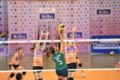 High jump to attack in volleyball players chaleng Stock Image