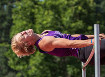High Jumper. Action  at a track meet in Cottonwood, California Royalty Free Stock Photos