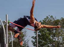 The High Jumper. A high jumper makes a good jump during a track meet in Cottonwood, California Royalty Free Stock Images