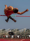 The High Jumper. A high jumper makes a good jump during a track meet in Cottonwood, California Royalty Free Stock Photo