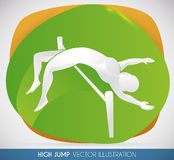 High Jumper Silhouette doing a Great Jump, Vector Illustration Stock Images