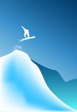 High jumping snow boarder. A snow boarder launching into a high jump Royalty Free Stock Image