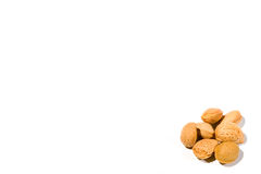 High Key Almonds. High key image of a small collection of almonds on a white background Stock Photography
