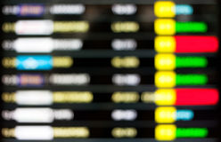 High key blurred image of Departure and arrivals electronic sche Royalty Free Stock Photo