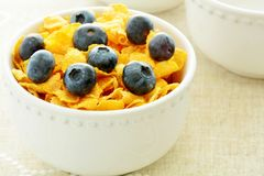 Corn Flakes with blueberries Royalty Free Stock Photo