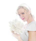 High key image, girl with a bouquet of paper roses Stock Images