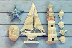 High key image of top view nautical concept with nautical life style objects. vintage filtered Royalty Free Stock Images