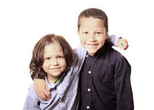 High key portrait of two brothers or friends Stock Image