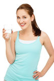 High key Portrait young caucasian woman drinking water isolat Stock Photo