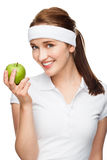 High key Portrait young woman holding green apple isolated on wh Stock Images