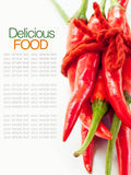 High key studio macro off red chilli . Stock Image
