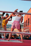 High kick. Demonstration of Kickboxing movements  during the Festival of Sport in 2009 at the Porto Antico di Genova Stock Images