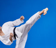 High kick athlete is beating with a black belt. High kick man is beating with a black belt Royalty Free Stock Image
