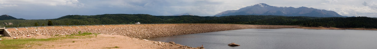 High lake and mountain panorama 2. High mountain lake, backed by Pikes Peak in the distance Stock Image