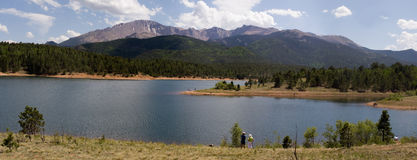 High lake and mountain panorama stock photo