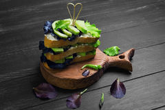 High large layered sandwich with avocado Royalty Free Stock Photo
