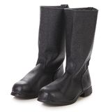 High Leather Boots Black Color. Stock Photo