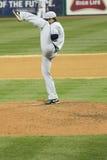 High Leg Kick Pitcher. GRAND CHUTE, WI - APRIL 23: Ben Tootle, pitcher for Minnesota Twins Class A affiliate Beloit Snappers with a high leg kick vs the Stock Photos
