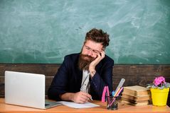 High level fatigue. Fall asleep at work. Educators more stressed work than average people. Exhausting work school cause. Fatigue. Life of teacher exhausting royalty free stock photography