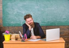 High level fatigue. Life of teacher exhausting. Fall asleep at work. Educators more stressed work than average people royalty free stock photos
