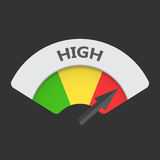 High level risk gauge vector icon. High fuel illustration on bla Royalty Free Stock Images