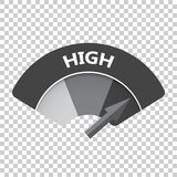 High level risk gauge vector icon. High fuel illustration on iso Royalty Free Stock Photo