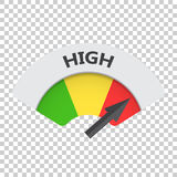 High level risk gauge vector icon. High fuel illustration on iso