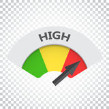 High level risk gauge vector icon. High fuel illustration on iso. Lated background. Simple business concept pictogram Stock Photo