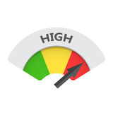 High level risk gauge vector icon. High fuel illustration on whi Stock Image