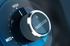 High level of success. Succeed. Rotating button with the word success, arrow pointing to the high. 3D render, concept image for motivation stock illustration