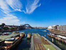 High Level View of Circular Quay, The Sydney harbour bridge and the Opera House, Australia. High level view from the Cahill walk or Walkway of Circular Quay stock photos