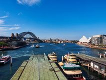 High Level View of Circular Quay, The Sydney harbour bridge and the Opera House, Australia. High level view from the Cahill walk or Walkway of Circular Quay royalty free stock photography