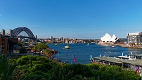 High Level View of Circular Quay, the Sydney Harbour Bridge and the Opera House, Australia. High level view from the Cahill walk or Walkway of Circular Quay royalty free stock image