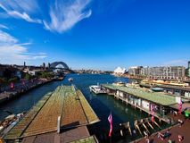High Level View of Circular Quay, The Sydney harbour bridge and the Opera House, Australia. High level view from the Cahill walk or Walkway of Circular Quay royalty free stock images