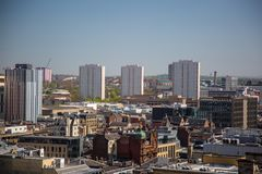 A high level view of Glasgow City Centre, looking North East from Bothwell Street. A high level view of Glasgow seen from the roof of the Pinnacle building on Stock Photography