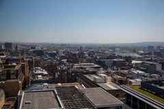 An unusual view over Glasgow City Centre from 17 floors above. A high level view of Glasgow seen from the roof of the Pinnacle building on Bothwell Street in Royalty Free Stock Photos