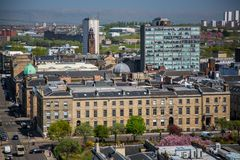 A view over Glasgow City Centre from 17 floors above Bothwell Street looking over Blythswood Square. A high level view of Glasgow seen from the roof of the Stock Images