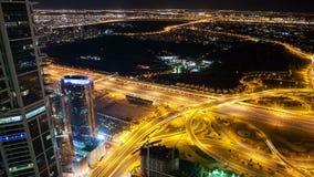 High light road time lapse in night dubai. Time lapse from dubai high traffic crossroads stock video