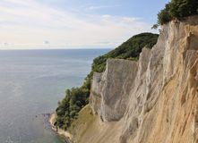 High limestone cliff at the east coast of Denmark. Baltic sea. Royalty Free Stock Images