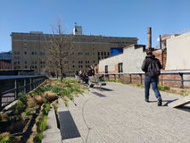 The High Line, Manhattan, New York City, USA. The High Line Park in New York City is an elevated urban linear public park. On this beautiful day in New York City Royalty Free Stock Photos
