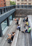 High Line.  New York City. Elevated pedestrian Park. NEW YORK CITY - SEPTEMBER 03: People at High Line Park in NYC on September 03th, 2013. The High Line is a Royalty Free Stock Image
