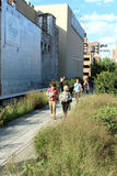 High Line.  New York City. Elevated pedestrian Park. NEW YORK CITY - SEPTEMBER 03: People at High Line Park in NYC on September 03th, 2013. The High Line is a Royalty Free Stock Photo