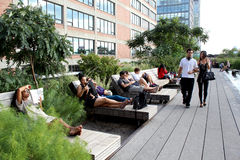 High Line.  New York City. Elevated pedestrian Park. NEW YORK CITY - SEPTEMBER 03: People at High Line Park in NYC on September 03th, 2013. The High Line is a Royalty Free Stock Photos