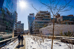 The High Line in New York City. NEW YORK CITY-February 10: High Line Park in NYC on Feb. 10, 2014. In 2009 this former elevated freight railroad spur on NYC's Royalty Free Stock Images
