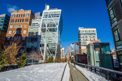 The High Line in New York City. NEW YORK CITY-February 10: High Line Park in NYC on Feb. 10, 2014. In 2009 this former elevated freight railroad spur on NYC's Stock Photos