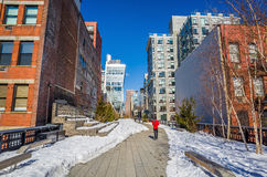 The High Line in New York City. NEW YORK CITY-February 10: High Line Park in NYC on Feb. 10, 2014. In 2009 this former elevated freight railroad spur on NYC's Royalty Free Stock Photography