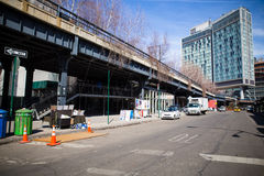 High Line NYC. NEW YORK CITY - MARCH 13, 2015:  Street view of High Line Park and The Standard Hotel in Manhattan Stock Photos