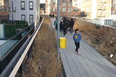 The High Line in New York City. The High Line, a park built over abandoned railroad tracks, on Manhattans West Side Royalty Free Stock Photos