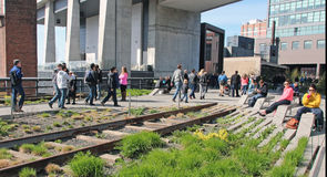 High Line Park. The High Line is an elevated railroad line turned to an urban park runs along the lower west side of Manhattan Royalty Free Stock Photography